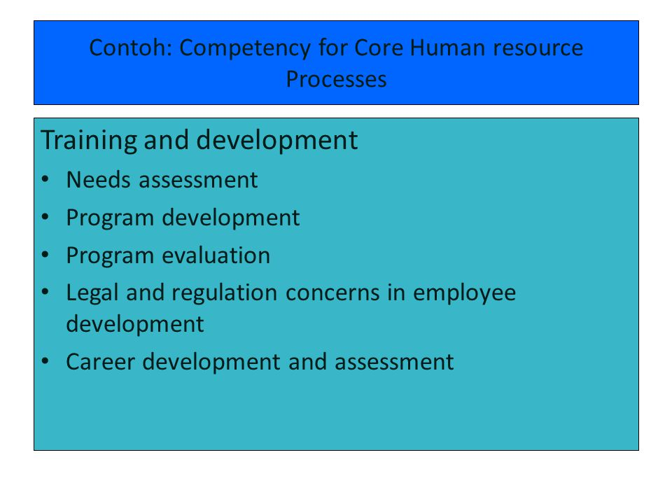 Contoh: Competency for Core Human resource Processes Training and development Needs assessment Program development Program evaluation Legal and regula