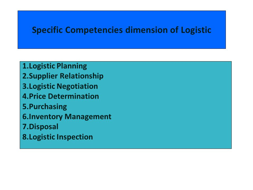 Specific Competencies dimension of Logistic 1.Logistic Planning 2.Supplier Relationship 3.Logistic Negotiation 4.Price Determination 5.Purchasing 6.In