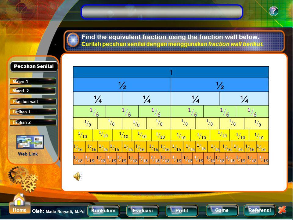 KurikulumEvaluasiProfil Referensi Oleh: Made Nuryadi, M.Pd ? Home Game Find the equivalent fraction of Carilah pecahan Senilai dari X 2 4 10 x 3 6 15