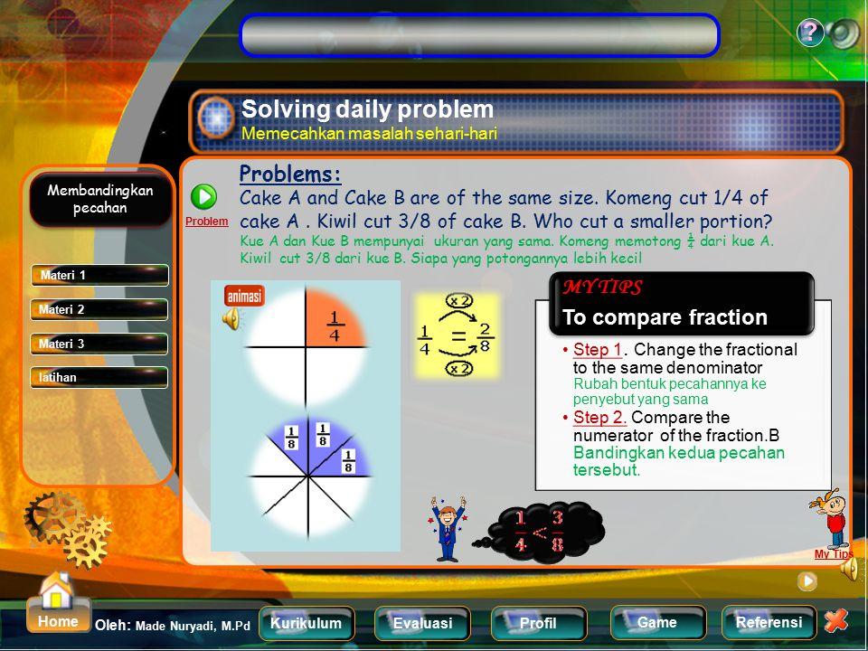 KurikulumEvaluasiProfil Referensi Oleh: Made Nuryadi, M.Pd ? Home Game Comparing Fraction Membandingkan pecahan Pizza A and pizza B are of the same si