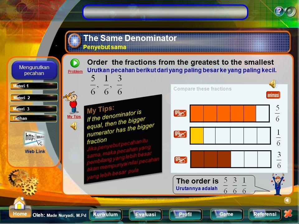 KurikulumEvaluasiProfil Referensi Oleh: Made Nuryadi, M.Pd ? Home Game Exercise latihan Which is greater fraction : Yang mana pecahan yang lebih besar