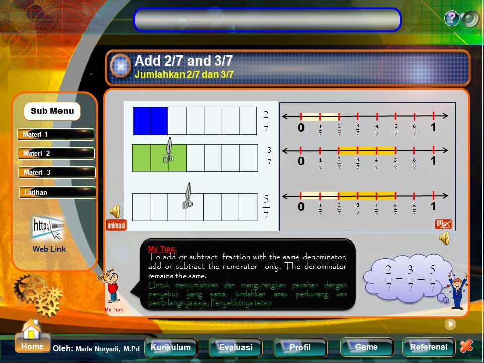 KurikulumEvaluasiProfil Referensi Oleh: Made Nuryadi, M.Pd ? Home Game Adding and Subtracting like fraction Menjumlahkan dan mengurangkan pecahan yang