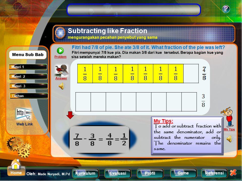KurikulumEvaluasiProfil Referensi Oleh: Made Nuryadi, M.Pd ? Home Game Add 2/7 and 3/7 Jumlahkan 2/7 dan 3/7 0 1 0 1 0 1 My Tips: To add or subtract f