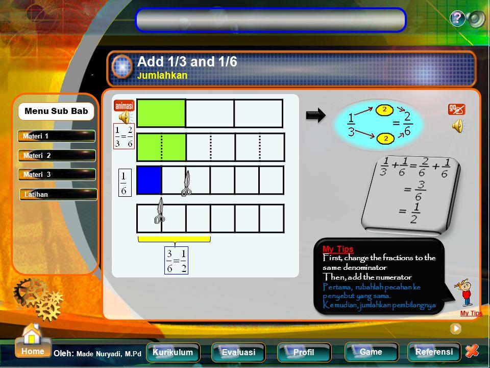 KurikulumEvaluasiProfil Referensi Oleh: Made Nuryadi, M.Pd ? Home Game Adding and Subtracting Unlike fraction Menjumlahkan dan mengurangkan pecahan ya