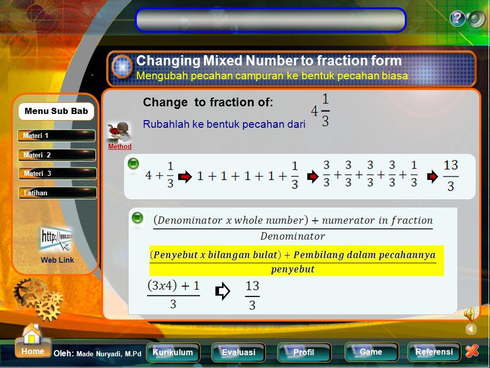 KurikulumEvaluasiProfil Referensi Oleh: Made Nuryadi, M.Pd ? Home Game Mixed Number Pecahan Campuran Materi 1 Materi 2 Menu Sub Bab Fraction Pecahan F