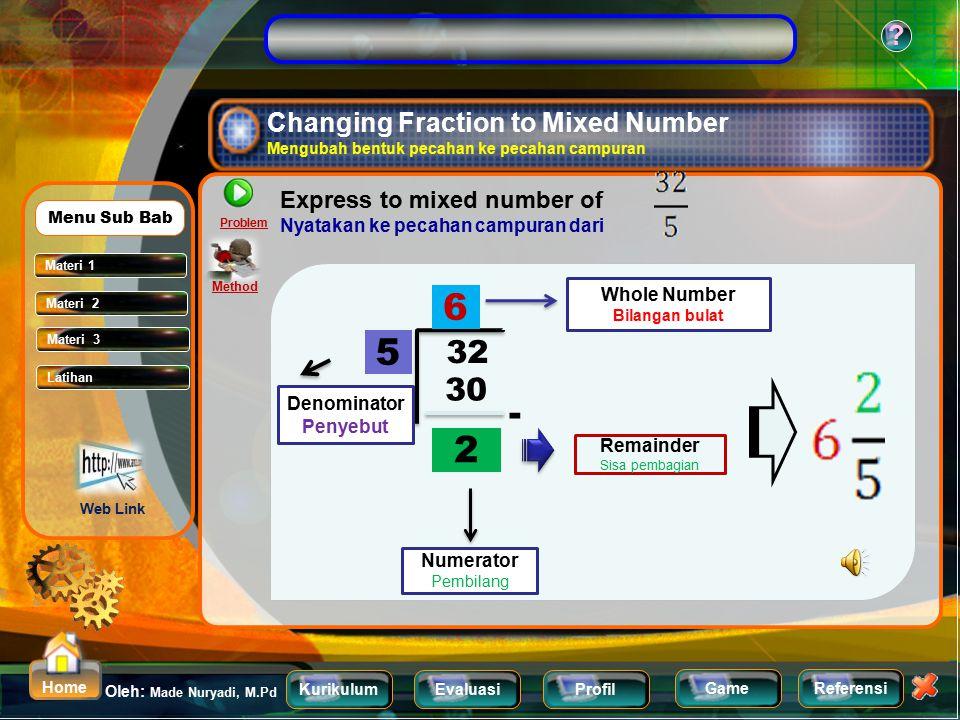 KurikulumEvaluasiProfil Referensi Oleh: Made Nuryadi, M.Pd ? Home Game Changing Mixed Number to fraction form Mengubah pecahan campuran ke bentuk peca