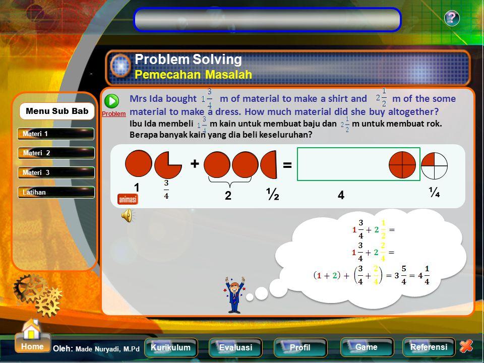 KurikulumEvaluasiProfil Referensi Oleh: Made Nuryadi, M.Pd ? Home Game Adding and Subtracting Mixed Number Menjumlahkan dan mengurangkan pecahan campu