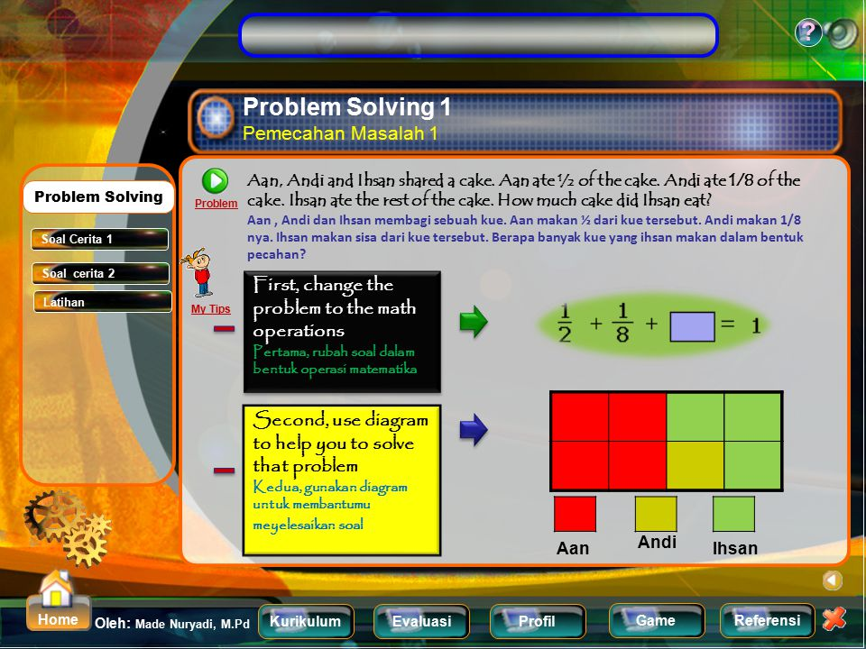 KurikulumEvaluasiProfil Referensi Oleh: Made Nuryadi, M.Pd ? Home Game Exercise Latihan Problem Add. Problem Subtract. Materi 1 Materi 2 Menu Sub Bab