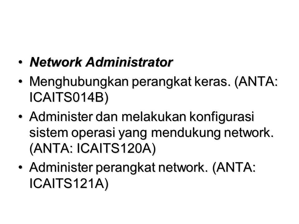 Network AdministratorNetwork Administrator Menghubungkan perangkat keras.