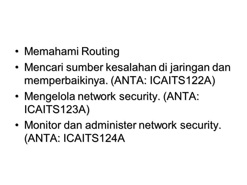 Memahami RoutingMemahami Routing Mencari sumber kesalahan di jaringan dan memperbaikinya.