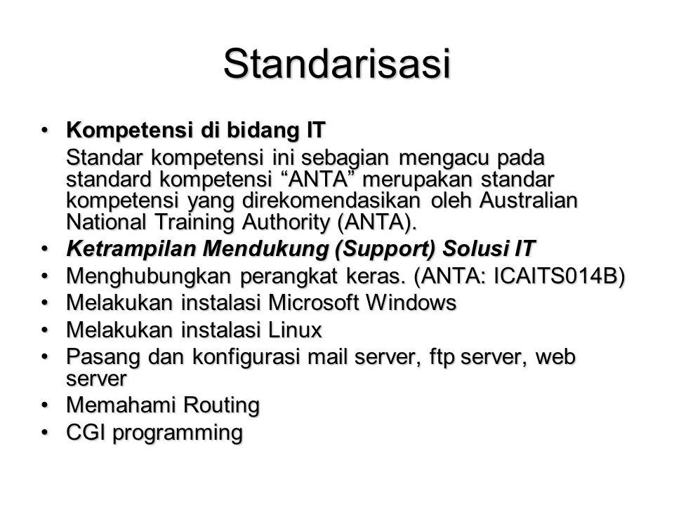 Standarisasi Kompetensi di bidang ITKompetensi di bidang IT Standar kompetensi ini sebagian mengacu pada standard kompetensi ANTA merupakan standar kompetensi yang direkomendasikan oleh Australian National Training Authority (ANTA).