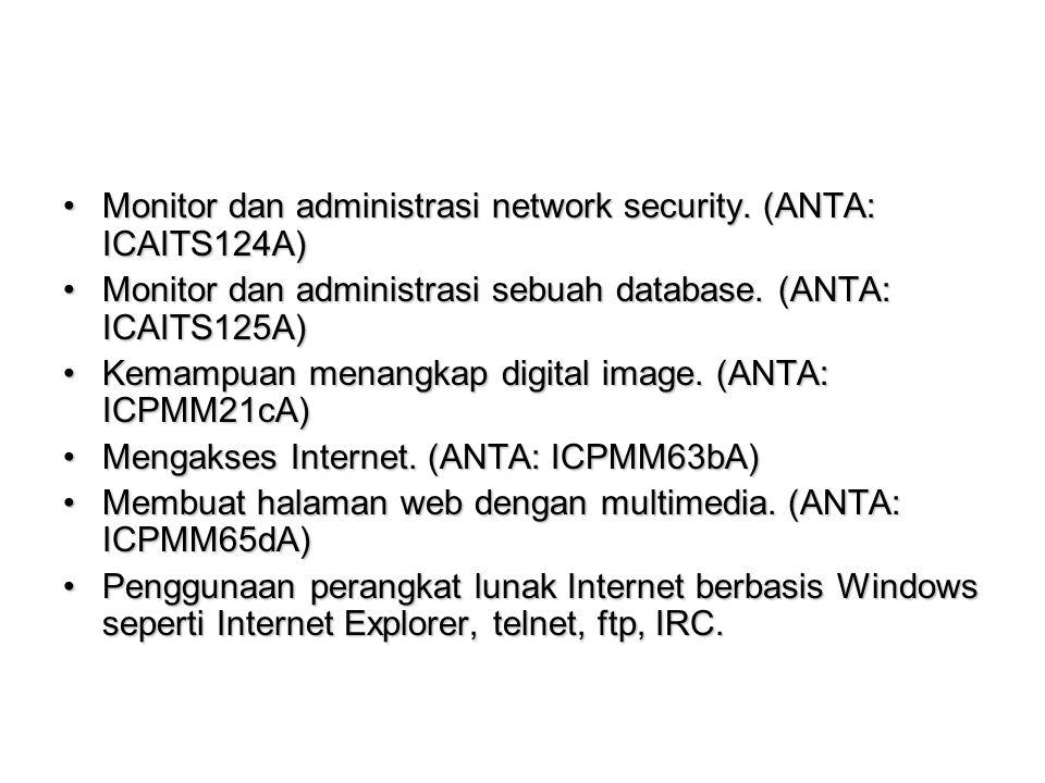 Monitor dan administrasi network security.