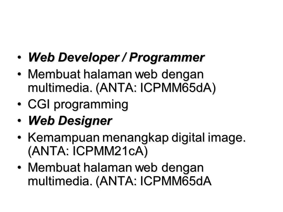 Web Developer / ProgrammerWeb Developer / Programmer Membuat halaman web dengan multimedia.
