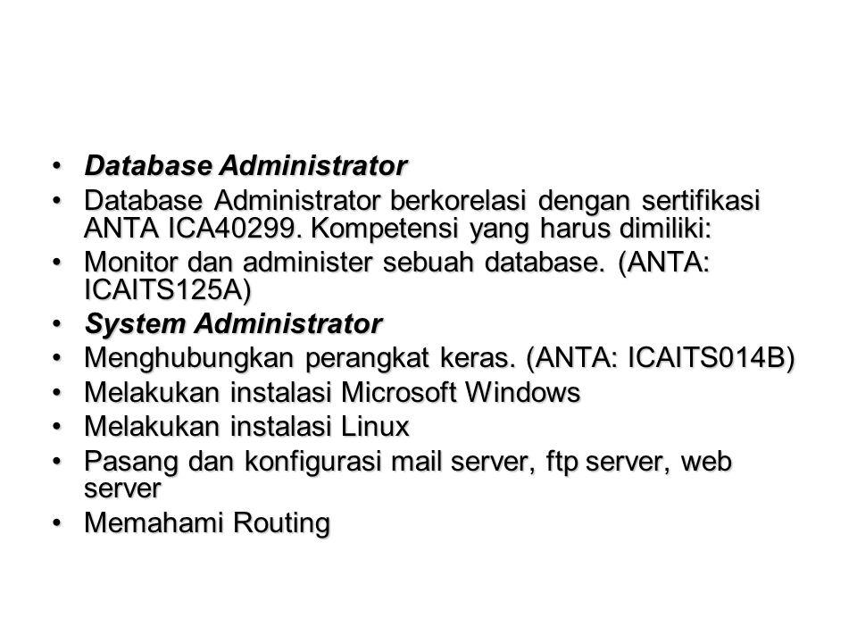 Database AdministratorDatabase Administrator Database Administrator berkorelasi dengan sertifikasi ANTA ICA40299.