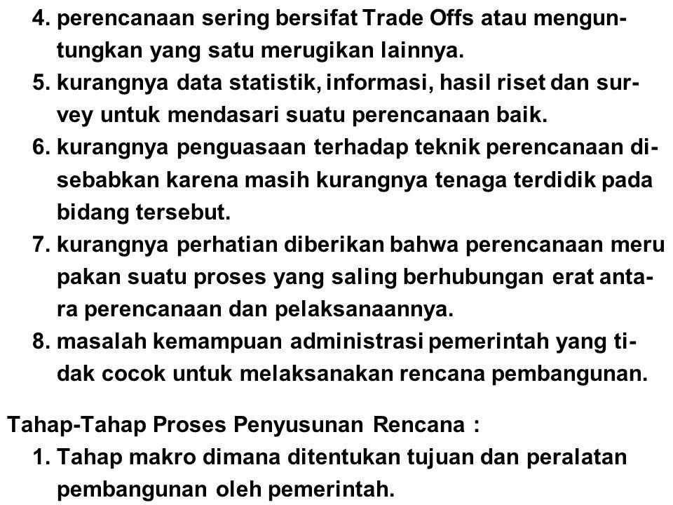 4. perencanaan sering bersifat Trade Offs atau mengun- tungkan yang satu merugikan lainnya. 5. kurangnya data statistik, informasi, hasil riset dan su