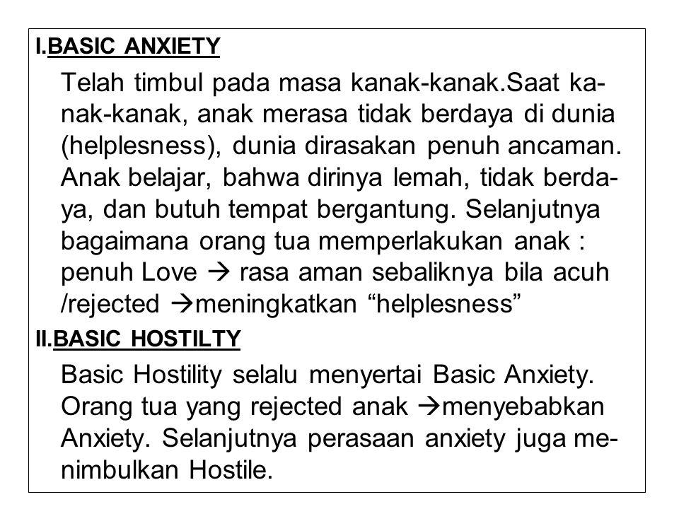 I.BASIC ANXIETY Telah timbul pada masa kanak-kanak.Saat ka- nak-kanak, anak merasa tidak berdaya di dunia (helplesness), dunia dirasakan penuh ancaman
