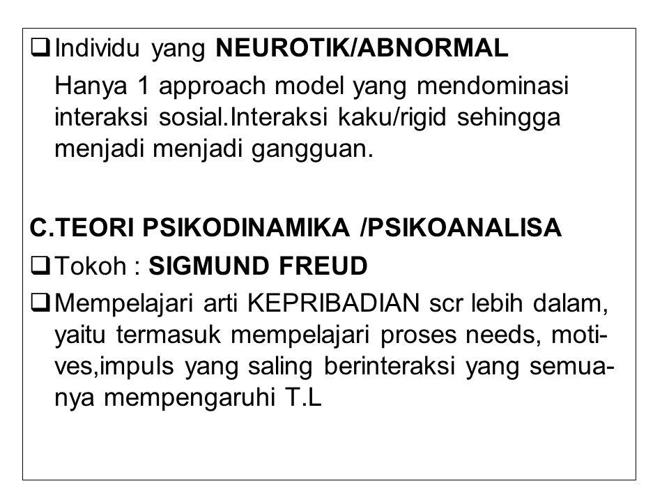  Individu yang NEUROTIK/ABNORMAL Hanya 1 approach model yang mendominasi interaksi sosial.Interaksi kaku/rigid sehingga menjadi menjadi gangguan. C.T