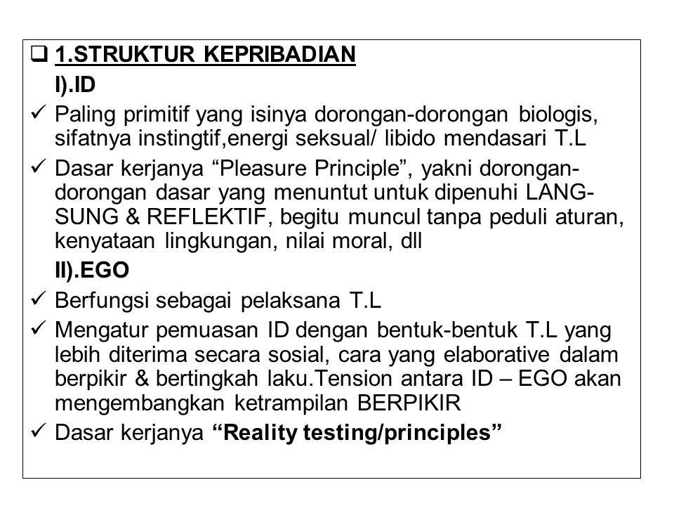  1.STRUKTUR KEPRIBADIAN I).ID Paling primitif yang isinya dorongan-dorongan biologis, sifatnya instingtif,energi seksual/ libido mendasari T.L Dasar
