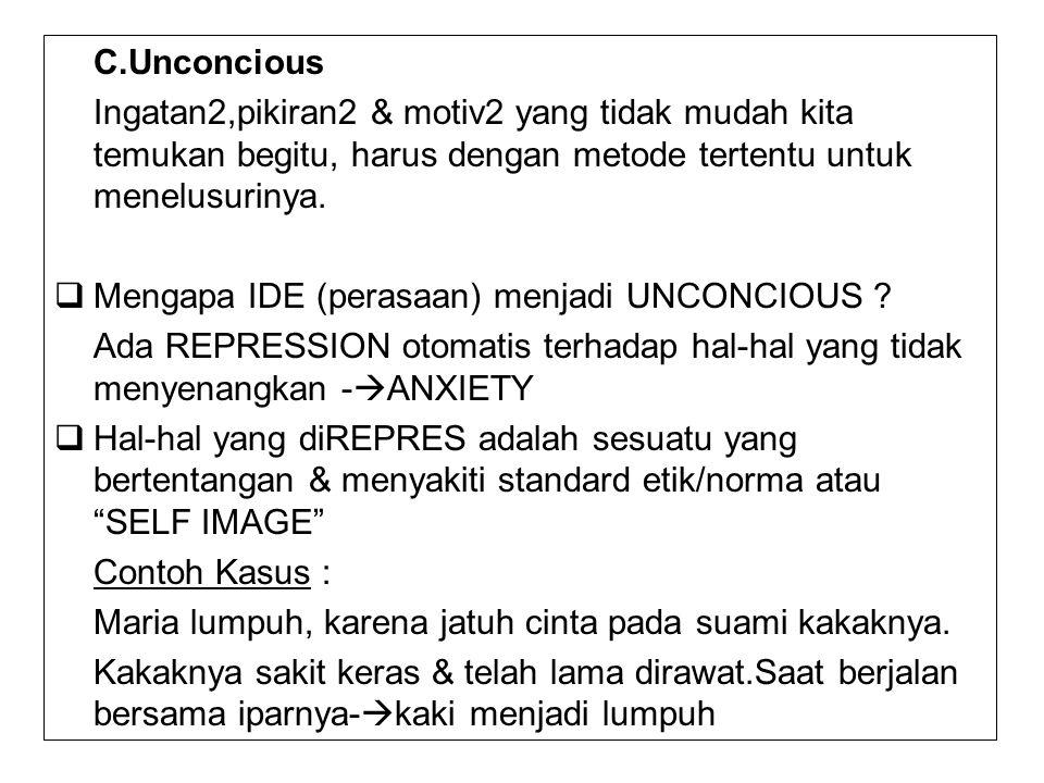 C.Unconcious Ingatan2,pikiran2 & motiv2 yang tidak mudah kita temukan begitu, harus dengan metode tertentu untuk menelusurinya.  Mengapa IDE (perasaa