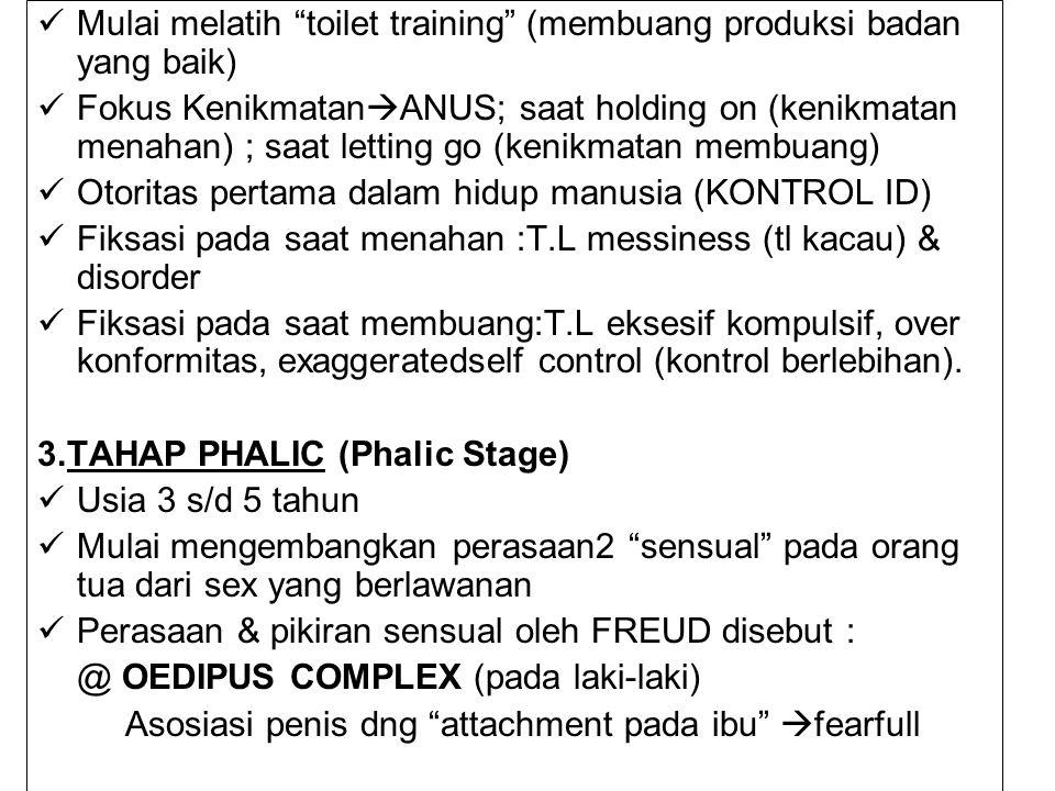 """Mulai melatih """"toilet training"""" (membuang produksi badan yang baik) Fokus Kenikmatan  ANUS; saat holding on (kenikmatan menahan) ; saat letting go (k"""