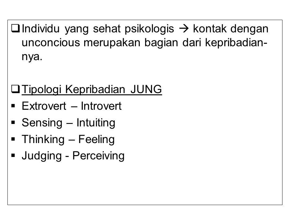  Individu yang sehat psikologis  kontak dengan unconcious merupakan bagian dari kepribadian- nya.  Tipologi Kepribadian JUNG  Extrovert – Introver