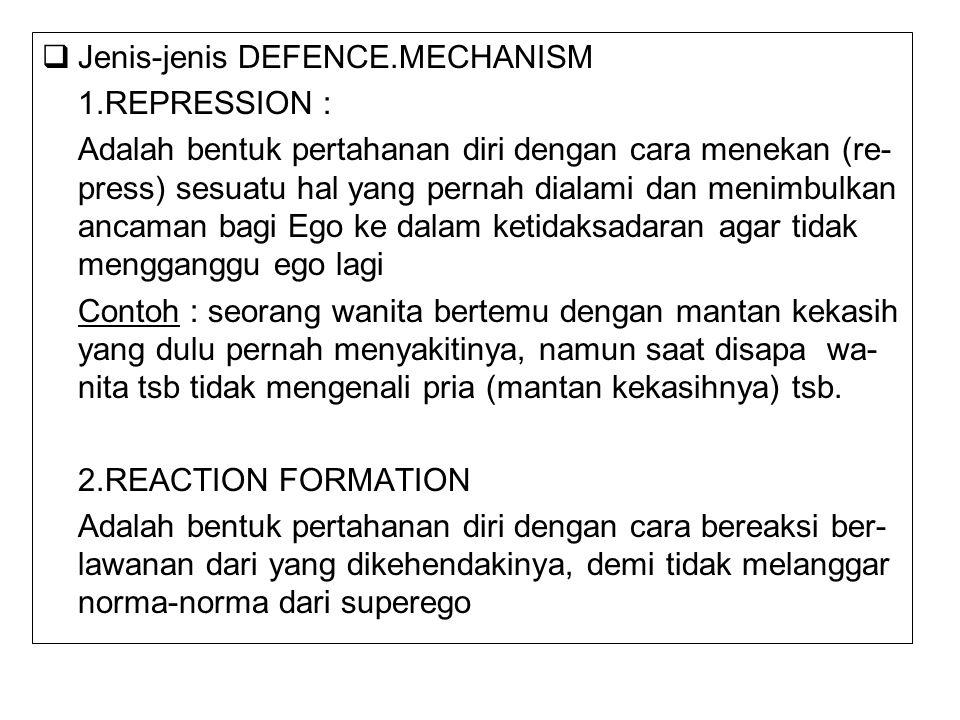  Jenis-jenis DEFENCE.MECHANISM 1.REPRESSION : Adalah bentuk pertahanan diri dengan cara menekan (re- press) sesuatu hal yang pernah dialami dan menim