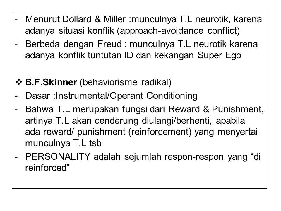 - Menurut Dollard & Miller :munculnya T.L neurotik, karena adanya situasi konflik (approach-avoidance conflict) - Berbeda dengan Freud : munculnya T.L