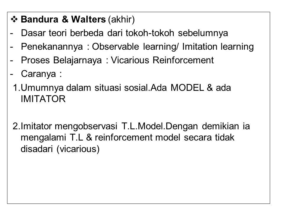 Bandura & Walters (akhir) - Dasar teori berbeda dari tokoh-tokoh sebelumnya - Penekanannya : Observable learning/ Imitation learning - Proses Belaja