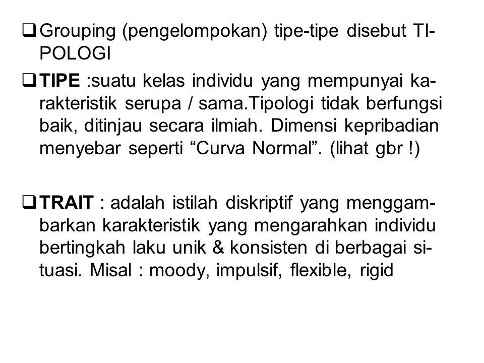  Grouping (pengelompokan) tipe-tipe disebut TI- POLOGI  TIPE :suatu kelas individu yang mempunyai ka- rakteristik serupa / sama.Tipologi tidak berfu