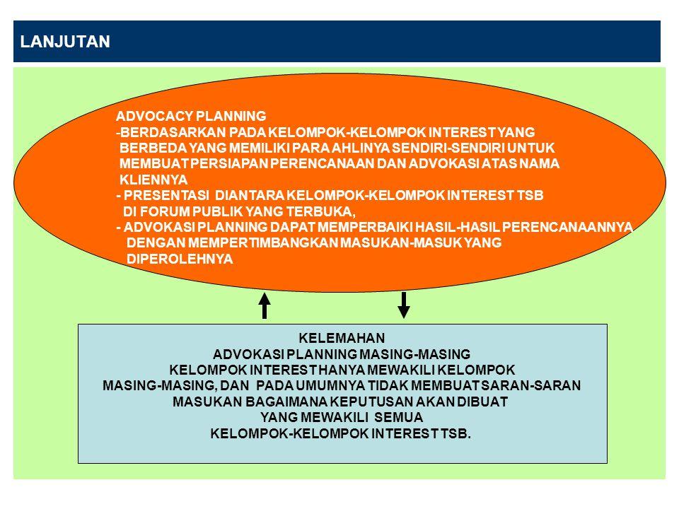 LANJUTAN ADVOCACY PLANNING -BERDASARKAN PADA KELOMPOK-KELOMPOK INTEREST YANG BERBEDA YANG MEMILIKI PARA AHLINYA SENDIRI-SENDIRI UNTUK MEMBUAT PERSIAPAN PERENCANAAN DAN ADVOKASI ATAS NAMA KLIENNYA - PRESENTASI DIANTARA KELOMPOK-KELOMPOK INTEREST TSB DI FORUM PUBLIK YANG TERBUKA, - ADVOKASI PLANNING DAPAT MEMPERBAIKI HASIL-HASIL PERENCANAANNYA DENGAN MEMPERTIMBANGKAN MASUKAN-MASUK YANG DIPEROLEHNYA KELEMAHAN ADVOKASI PLANNING MASING-MASING KELOMPOK INTEREST HANYA MEWAKILI KELOMPOK MASING-MASING, DAN PADA UMUMNYA TIDAK MEMBUAT SARAN-SARAN MASUKAN BAGAIMANA KEPUTUSAN AKAN DIBUAT YANG MEWAKILI SEMUA KELOMPOK-KELOMPOK INTEREST TSB.