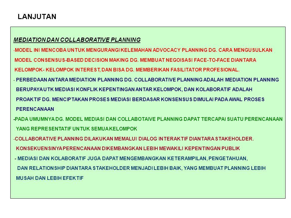 LANJUTAN MEDIATION DAN COLLABORATIVE PLANNING -MODEL INI MENCOBA UNTUK MENGURANGI KELEMAHAN ADVOCACY PLANNING DG.