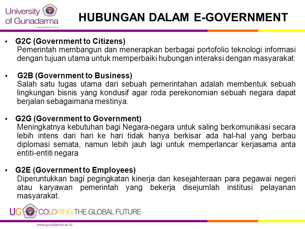 HUBUNGAN DALAM E-GOVERNMENT G2C (Government to Citizens) Pemerintah membangun dan menerapkan berbagai portofolio teknologi informasi dengan tujuan uta