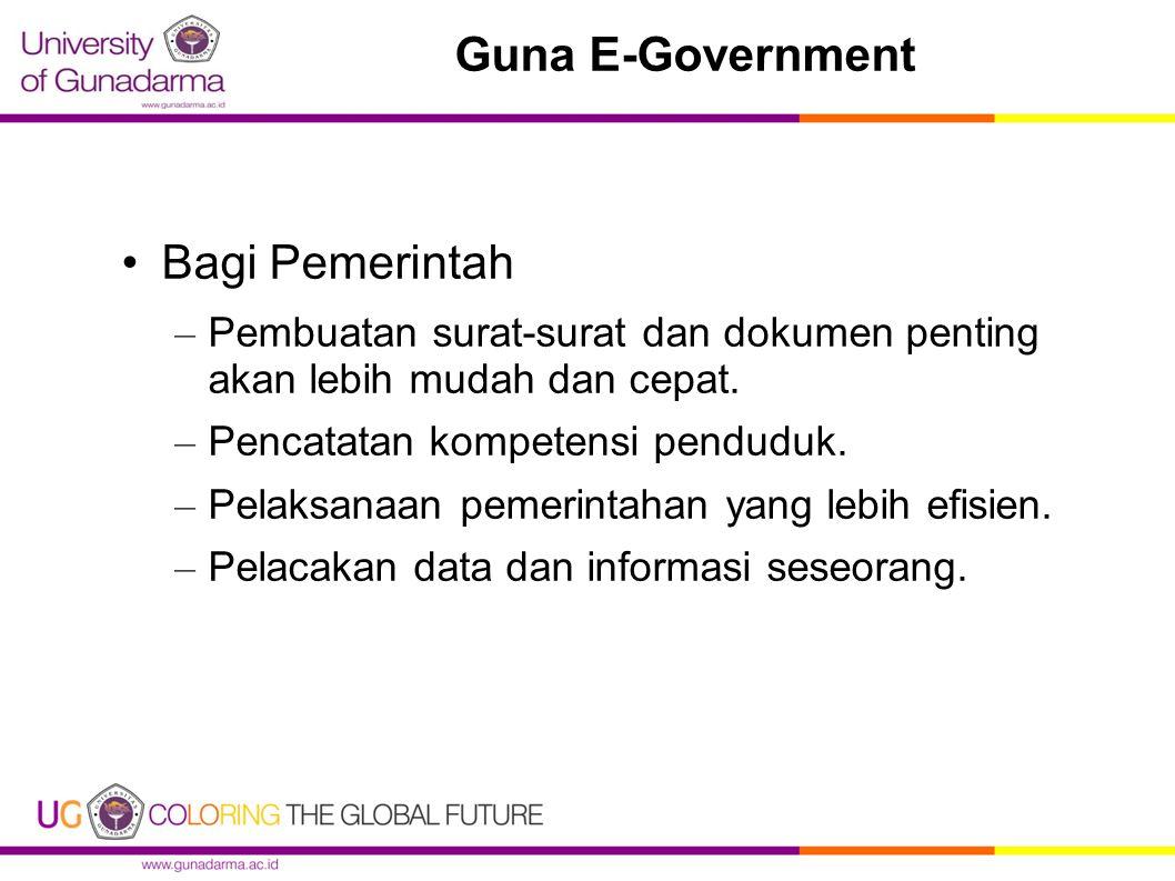 Guna E-Government Bagi Pemerintah – Pembuatan surat ‑ surat dan dokumen penting akan lebih mudah dan cepat. – Pencatatan kompetensi penduduk. – Pelaks
