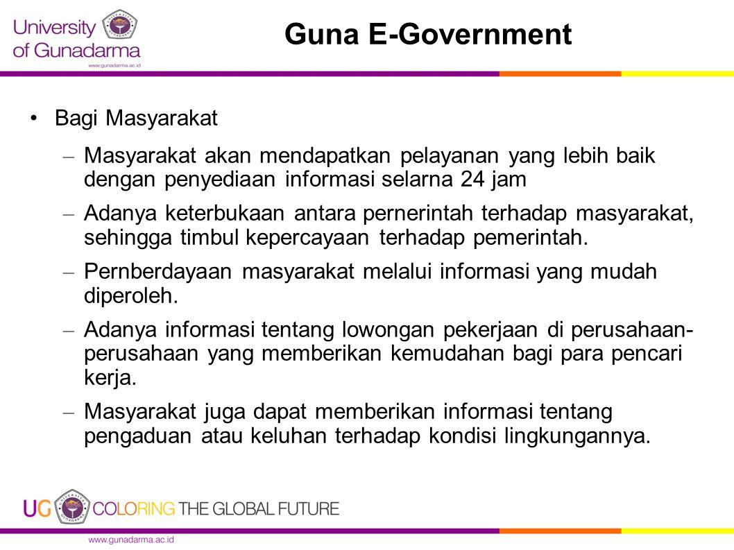Guna E-Government Bagi Masyarakat – Masyarakat akan mendapatkan pelayanan yang lebih baik dengan penyediaan informasi selarna 24 jam – Adanya keterbuk