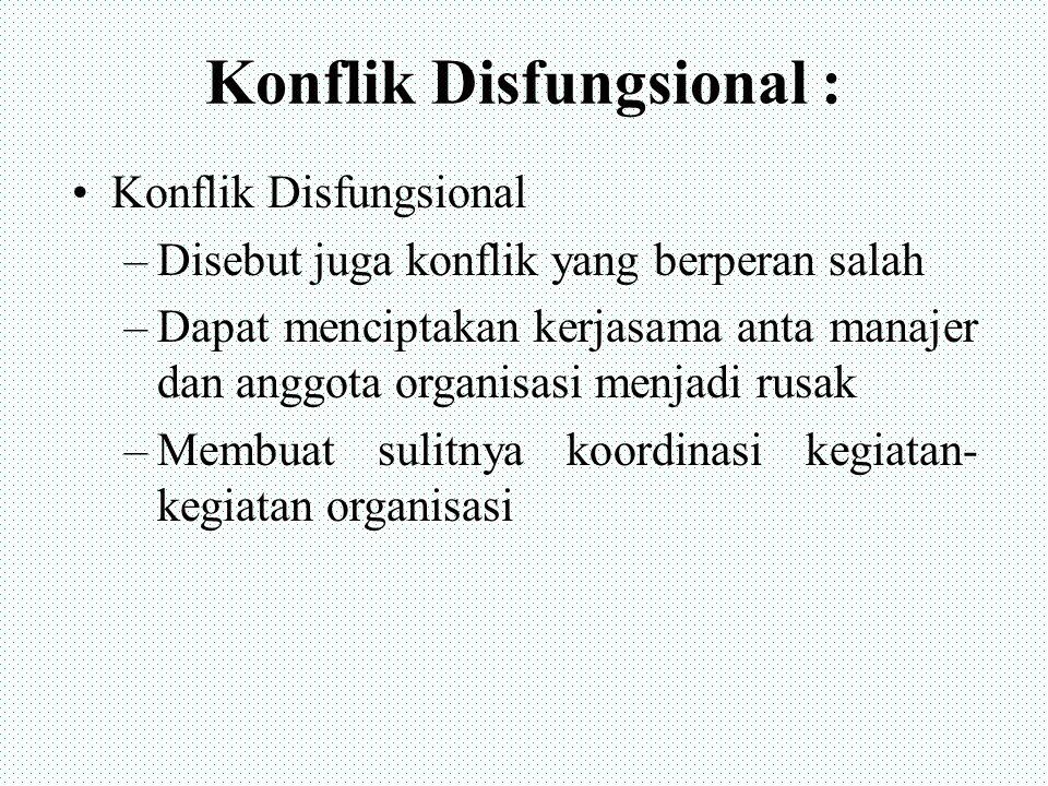 Konflik Disfungsional : Konflik Disfungsional –Disebut juga konflik yang berperan salah –Dapat menciptakan kerjasama anta manajer dan anggota organisa