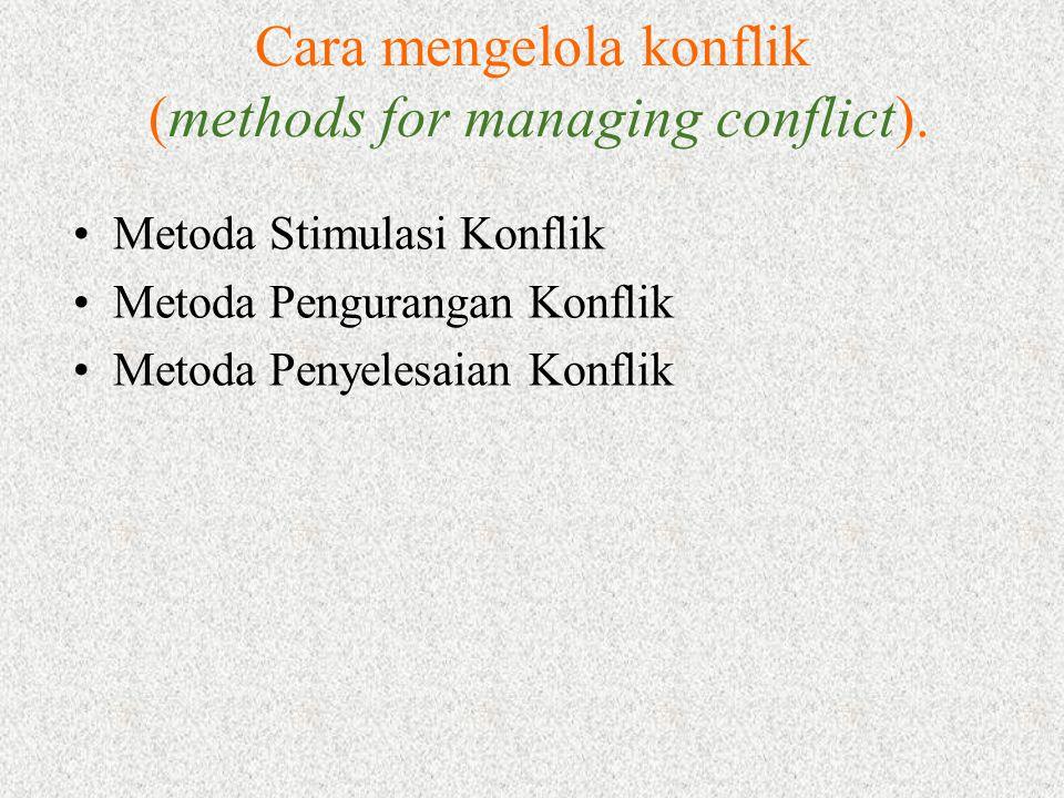 Cara mengelola konflik (methods for managing conflict). Metoda Stimulasi Konflik Metoda Pengurangan Konflik Metoda Penyelesaian Konflik