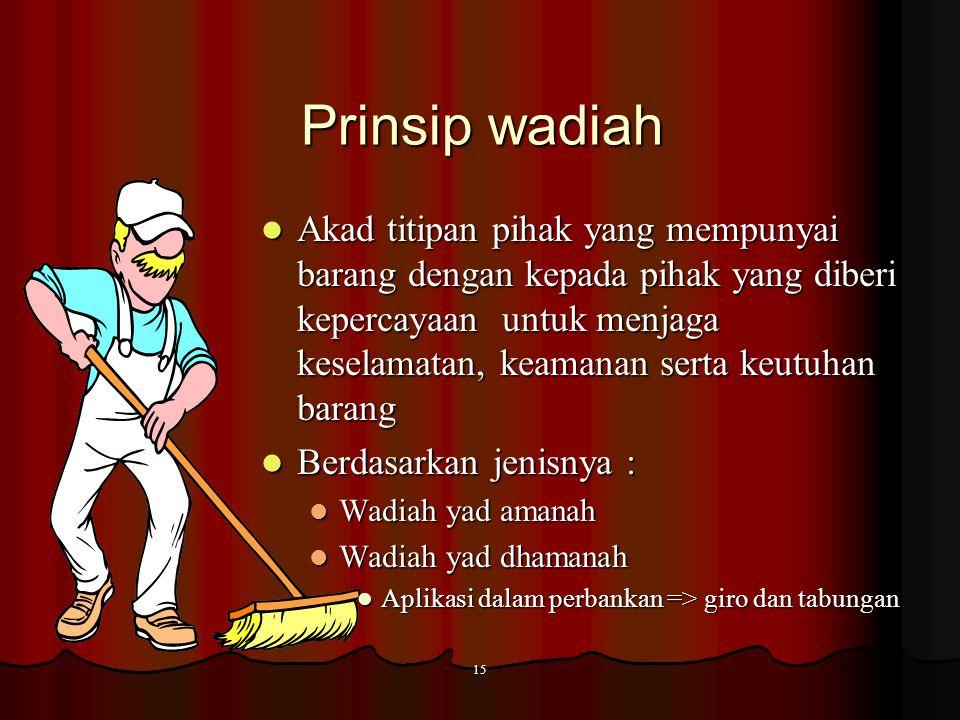 14 Penghimpunan dana Prinsip wadiah  Wadiah yad amanah  Wadiah yad dhamanah Prinsip Mudharaba h  Mudharabah mutlaqah (Investasi Tidak Terikat / Unr