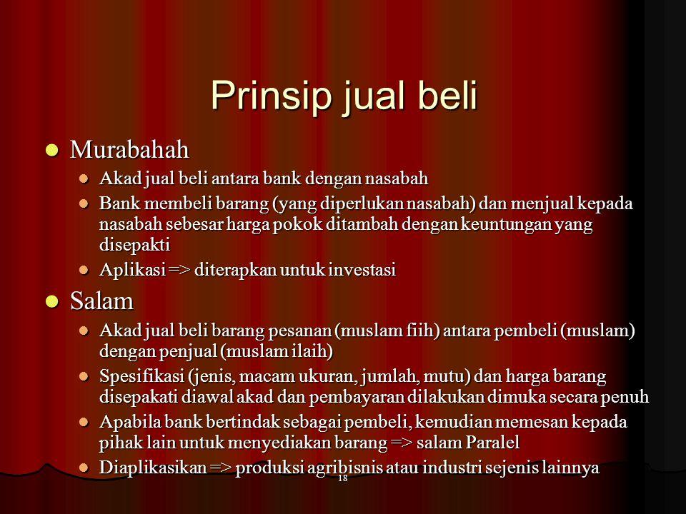 17 Penyaluran dana Prinsip jual beli  Murabahah  Istishna, Istishna Paralel  Salam, Salam Paralel Prinsip bagi hasil  Pembiayaan Mudharabah  Pemb