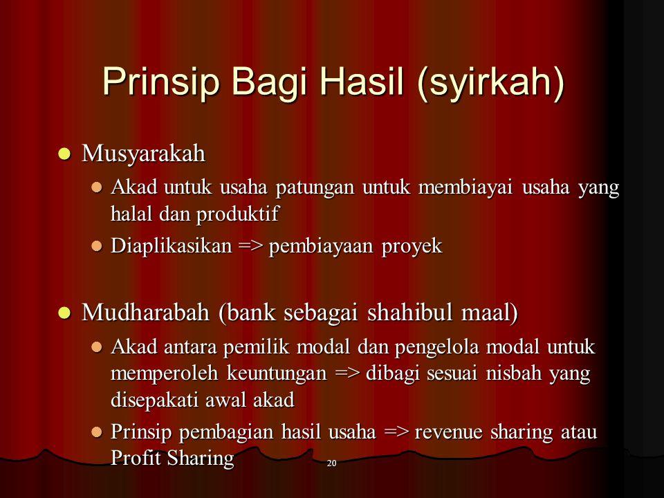 19 Prinsip jual beli Istishna Istishna Akad jual beli (mashnu') antara pemesan (mustashni') dengan penerima pesanan (shani) Akad jual beli (mashnu') a