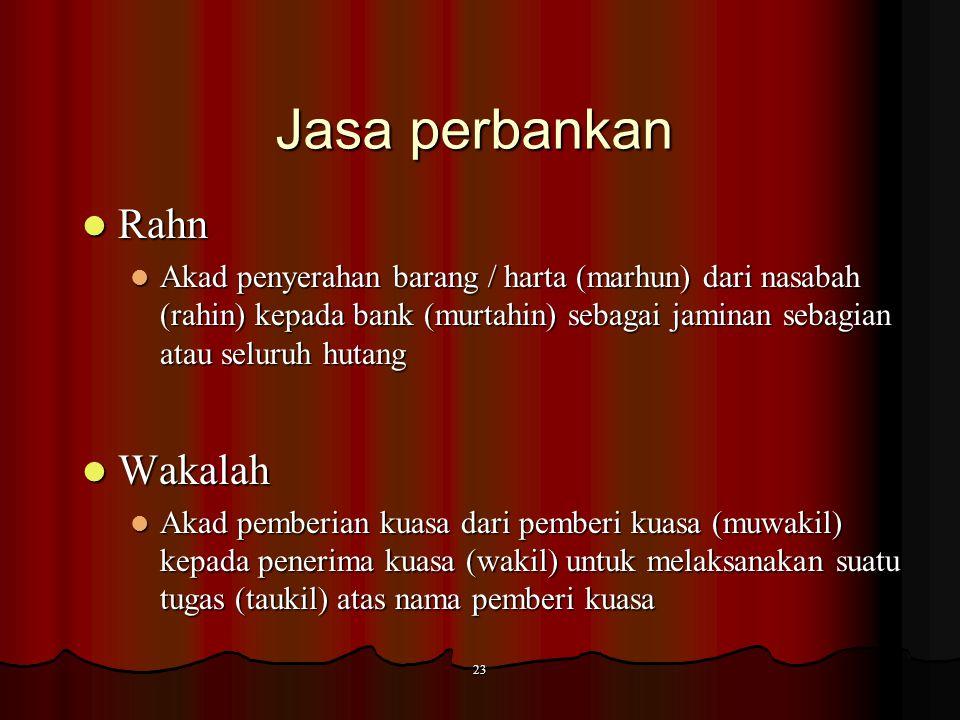 22 Jasa perbankan Qardh Qardh Akad pinjamn dari bank (muqridh) kepada pihak tertentu (muqtaridh) untuk tujuan sosial yang wajib dikembalikan dengan ya
