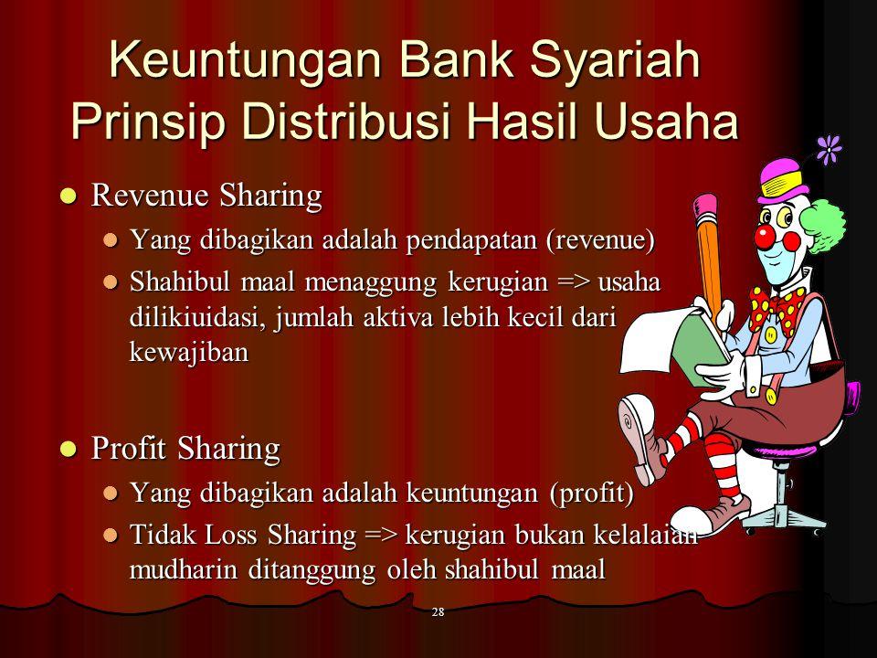 Keuntungan Bank Konvensional Bunga simpanan yaitu bunga yang diberikan sebagai balas jasa bagi nasabah yang menyimpan uang dibank. Bunga pinjaman yait