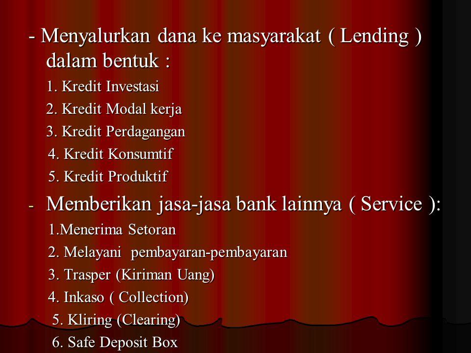 Adapun kegiatan-kegiatan perbankan di Indonesia dewasa ini adalah sebagai berikut : 1. 1. Kegiatan-kegiatan Bank Umum : - Menghimpun dana dari masyara
