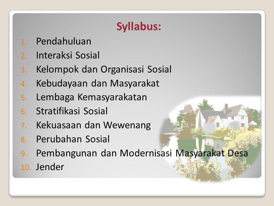 Syllabus: 1.Pendahuluan 2. Interaksi Sosial 3. Kelompok dan Organisasi Sosial 4.