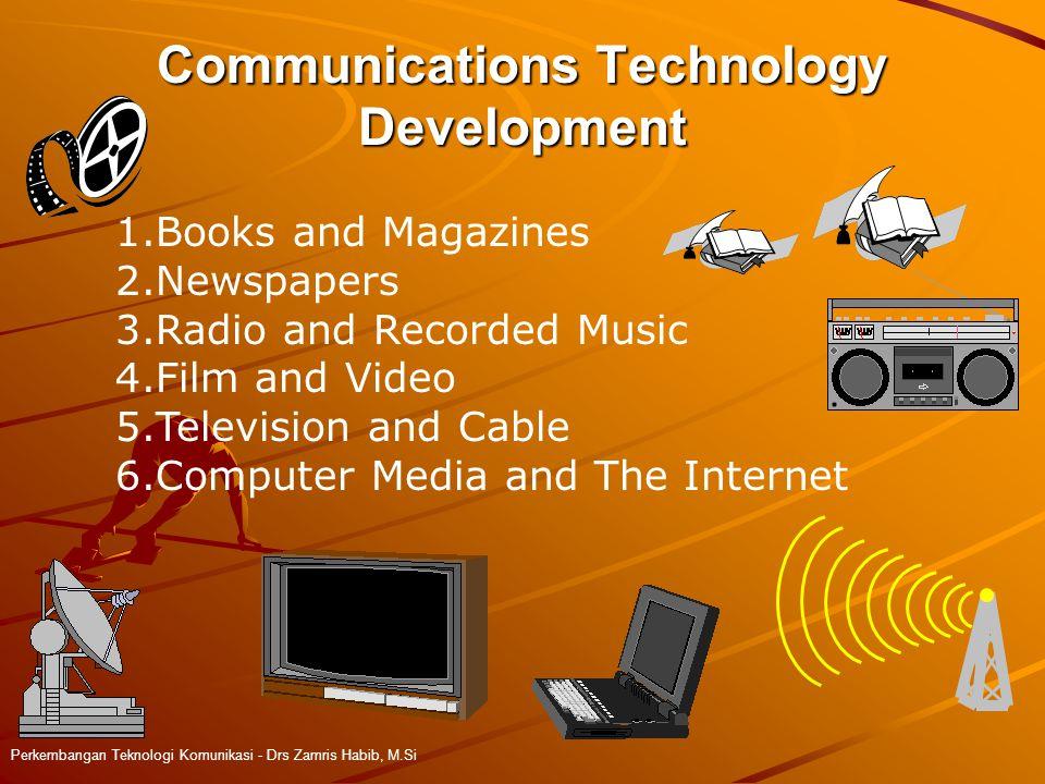 Communications Technology Development Perkembangan Teknologi Komunikasi - Drs Zamris Habib, M.Si 1.Books and Magazines 2.Newspapers 3.Radio and Recorded Music 4.Film and Video 5.Television and Cable 6.Computer Media and The Internet