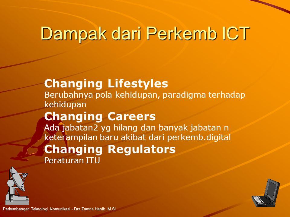 Dampak dari Perkemb ICT Perkembangan Teknologi Komunikasi - Drs Zamris Habib, M.Si Changing Lifestyles Berubahnya pola kehidupan, paradigma terhadap k