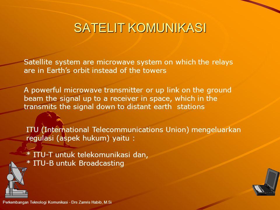 SATELIT KOMUNIKASI Perkembangan Teknologi Komunikasi - Drs Zamris Habib, M.Si Satellite system are microwave system on which the relays are in Earth's