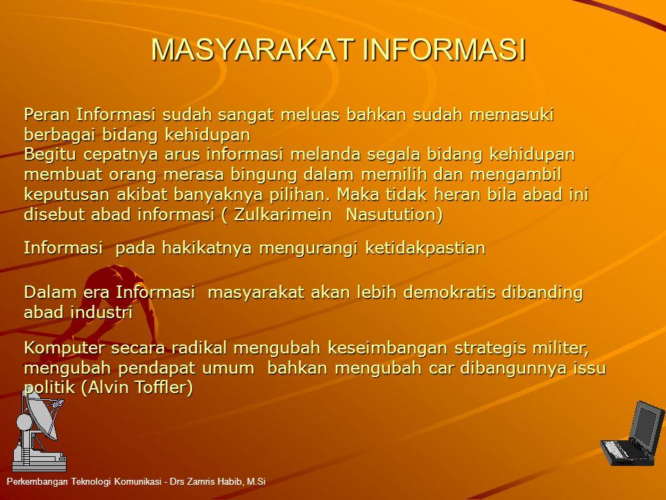 MASYARAKAT INFORMASI Perkembangan Teknologi Komunikasi - Drs Zamris Habib, M.Si Peran Informasi sudah sangat meluas bahkan sudah memasuki berbagai bid