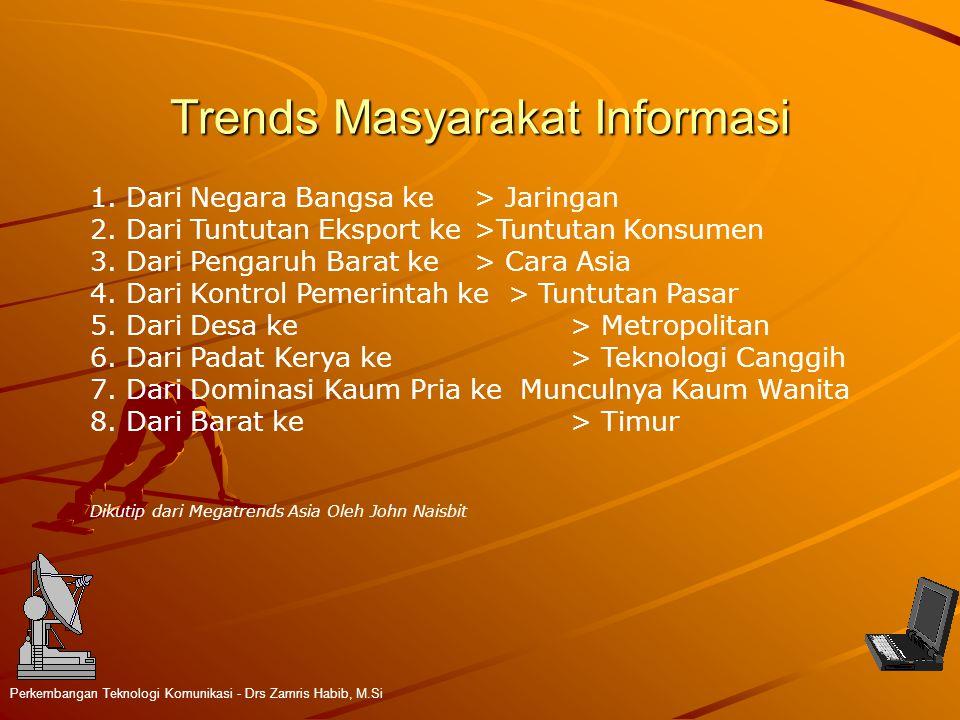 Trends Masyarakat Informasi Perkembangan Teknologi Komunikasi - Drs Zamris Habib, M.Si 1.Dari Negara Bangsa ke > Jaringan 2.Dari Tuntutan Eksport ke >