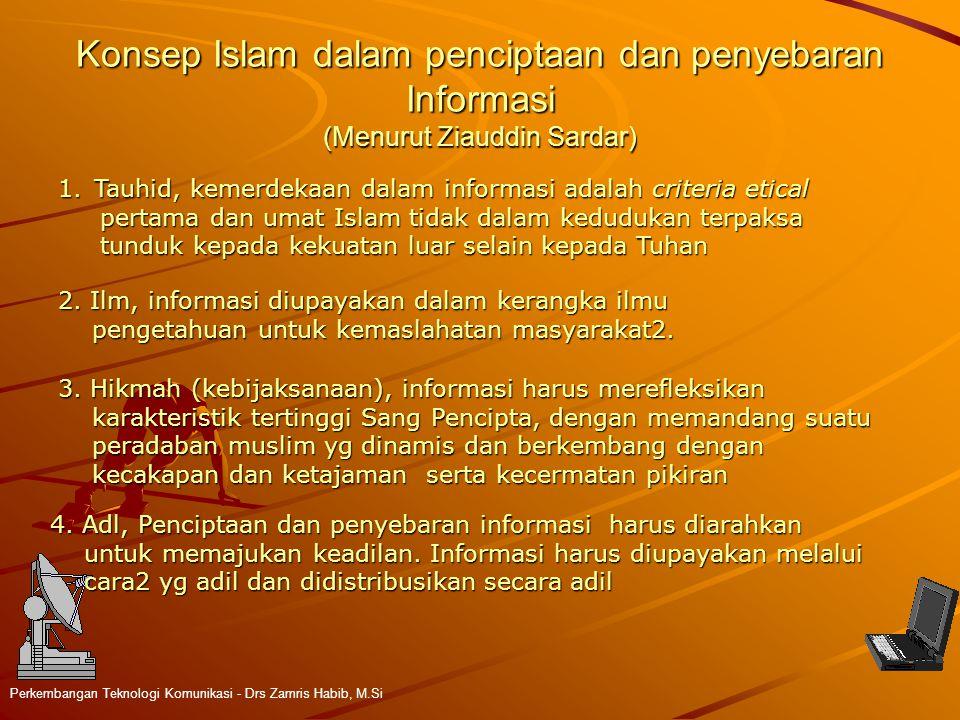 Konsep Islam dalam penciptaan dan penyebaran Informasi (Menurut Ziauddin Sardar) Perkembangan Teknologi Komunikasi - Drs Zamris Habib, M.Si 1.Tauhid,