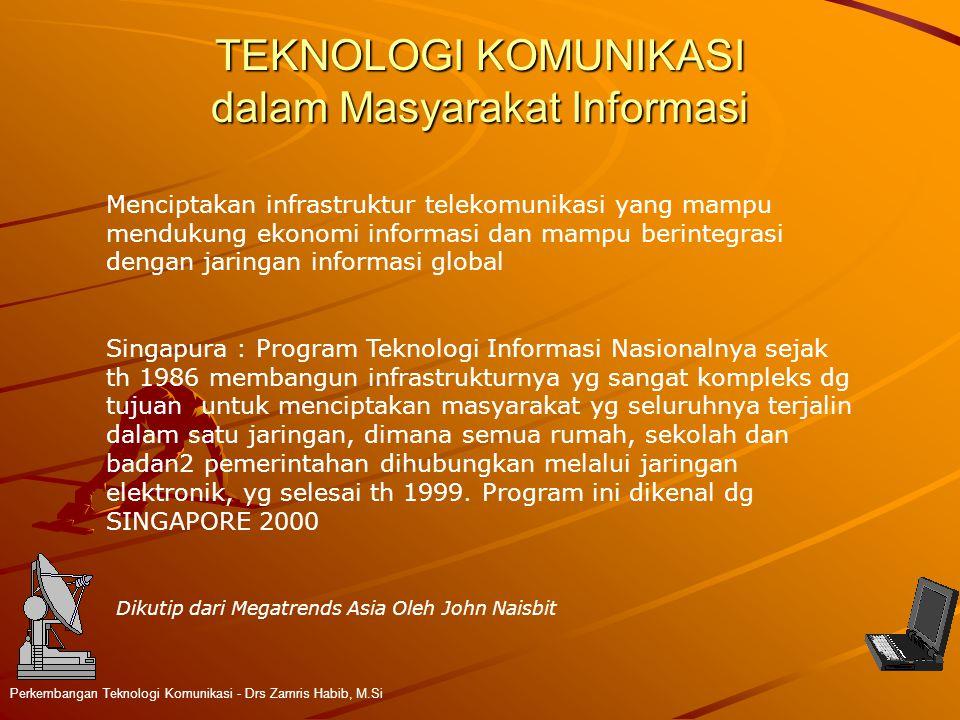 TEKNOLOGI KOMUNIKASI dalam Masyarakat Informasi Perkembangan Teknologi Komunikasi - Drs Zamris Habib, M.Si Menciptakan infrastruktur telekomunikasi ya